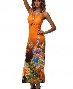 RV157-19 Rochie de vara cu model floral si paun imprimat - Rochii de vara - Haine > Haine Femei > Rochii Femei > Rochii de vara