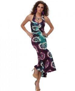 RV167-10 Rochie lunga de vara cu model colorat - Rochii de vara - Haine > Haine Femei > Rochii Femei  > Rochii de vara