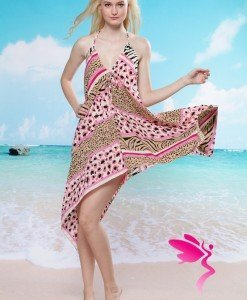 RV85 Rochie de plaja cu model animal print - Costume de plaja - Haine > Haine Femei > Costume de baie > Costume de plaja