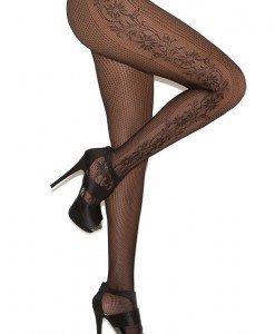 STK146-1 Ciorapi sexy din plasa cu model floral pe lateral - Ciorapi dama - Haine > Haine Femei > Ciorapi si manusi > Ciorapi dama