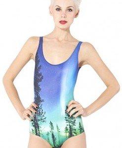 SW419 Costum de baie cu model aurora boreala - Costume de baie intregi - Haine > Haine Femei > Costume de baie > Costume de baie intregi