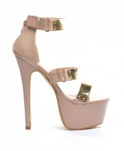 Sandale Angre Nude - Sandale cu toc - Sandale cu toc