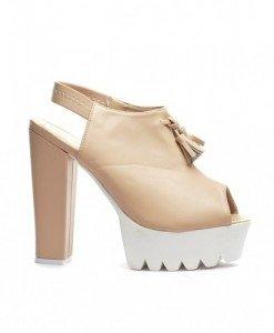 Sandale Asia Bej - Sandale cu toc - Sandale cu toc