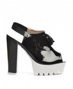 Sandale Asia Negre - Sandale cu toc - Sandale cu toc