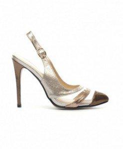 Sandale Damby Aurii - Sandale cu toc - Sandale cu toc
