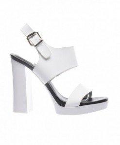 Sandale Grig Albe - Sandale cu toc - Sandale cu toc