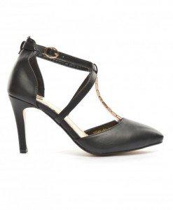 Sandale Honsa Negre - Sandale cu toc - Sandale cu toc