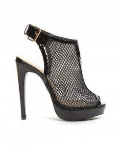 Sandale Hunda Negre - Sandale cu toc - Sandale cu toc