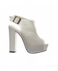 Sandale Kones Albe - Sandale cu toc - Sandale cu toc