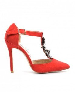 Sandale Milu Rosii - Sandale cu toc - Sandale cu toc