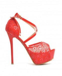 Sandale Mix Rosii - Sandale cu toc - Sandale cu toc