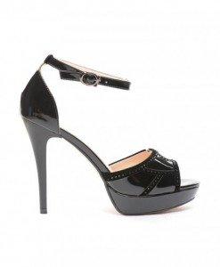 Sandale Mondei Negre - Sandale cu toc - Sandale cu toc