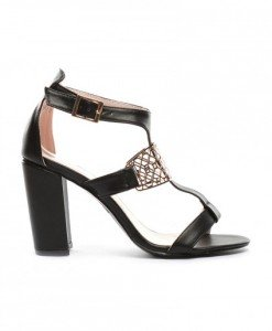 Sandale Nudea Negre - Sandale cu toc - Sandale cu toc