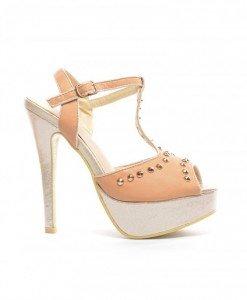 Sandale Pank Khaki - Sandale cu toc - Sandale cu toc