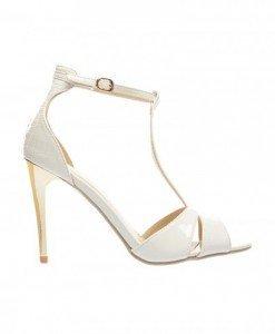 Sandale Picadeli Albe - Sandale cu toc - Sandale cu toc