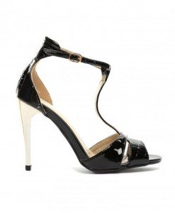 Sandale Picadeli Negre - Sandale cu toc - Sandale cu toc