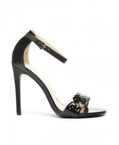 Sandale Poker Negre - Sandale cu toc - Sandale cu toc