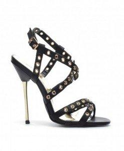 Sandale Rox Negre - Sandale cu toc - Sandale cu toc