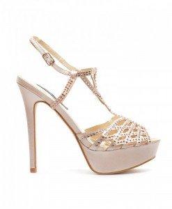 Sandale Rum Bej - Sandale cu toc - Sandale cu toc