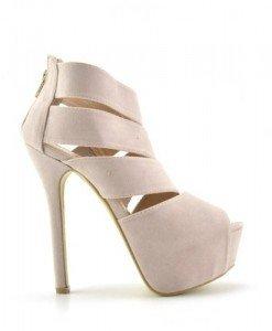 Sandale Timbar Bej - Sandale cu toc - Sandale cu toc