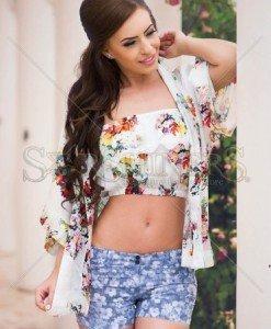 Top PrettyGirl Floral White - Topuri -