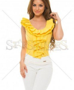 Top PrettyGirl Frilled Yellow - Topuri -