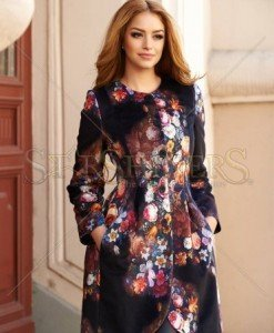Trench Beautiful Flowers Black - Trenciuri -