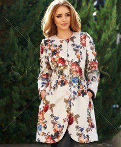 Trench Beautiful Flowers Cream - Trenciuri -
