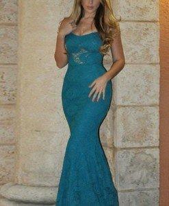 U375-4 Rochie eleganta de seara cu dantela si bretele subtiri - Rochii lungi - Haine > Haine Femei > Rochii Femei > Rochii de seara > Rochii lungi