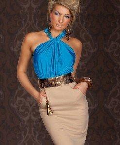 X222-4 Rochie eleganta in doua culori accesorizata in talie - Rochii de seara - Haine > Haine Femei > Rochii Femei  > Rochii de seara