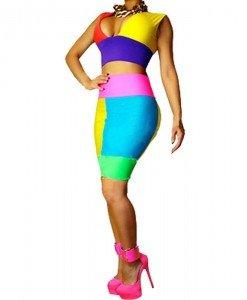 X333 Compleu sexy multicolor top si fusta - Top si fusta - Haine > Haine Femei > Compleuri > Top si fusta