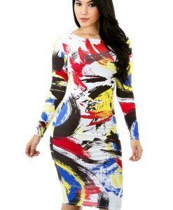 X371 Rochie midi sexy cu print colorat - Rochii midi - Haine > Haine Femei > Rochii Femei  > Rochii de club > Rochii midi