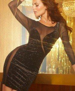 Z185 Rochie eleganta de seara cu maneci din plasa - Rochii de seara - Haine > Haine Femei > Rochii Femei  > Rochii de seara