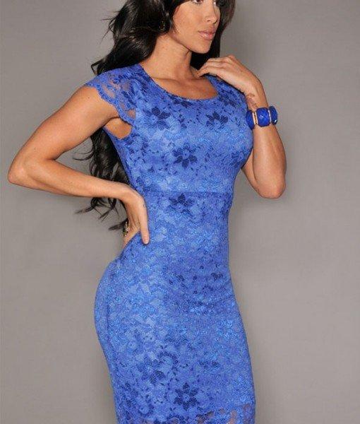 B265-4 Rochie conica albastra cu dantela – Rochii cu dantela – Haine > Haine Femei > Rochii Femei > Rochii de seara > Rochii cu dantela