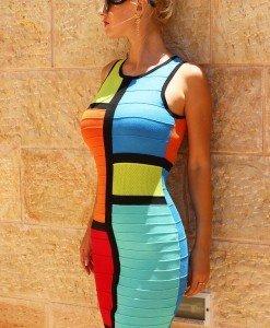 BAN342 Rochie bandage model multicolor - Rochii scurte - Haine > Haine Femei > Rochii Femei  > Rochii de club > Rochii scurte