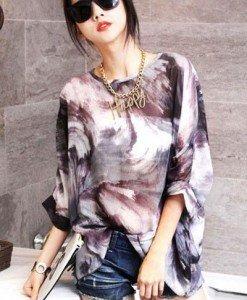 BL305 Bluza vaporoasa cu maneci treisfert si model - Bluze - Haine > Haine Femei > Bluze > Bluze