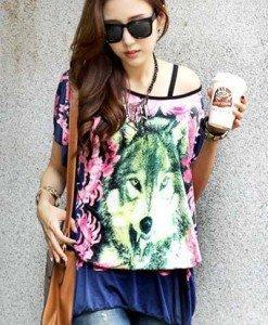 BL391-44 Bluza vaporoasa de vara cu model - Bluze - Haine > Haine Femei > Bluze > Bluze