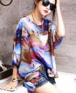 BL392 Bluza vaporoasa de vara cu model - Bluze - Haine > Haine Femei > Bluze > Bluze