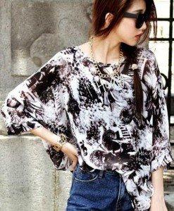BL398-1122 Bluza vaporoasa cu maneci treisfert - Bluze - Haine > Haine Femei > Bluze > Bluze