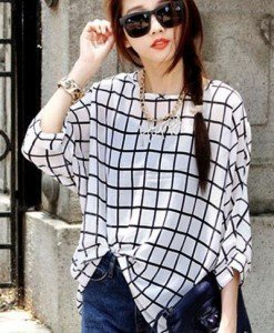 BL399-211 Bluza vaporoasa cu maneci treisfert si model in dungi - Bluze - Haine > Haine Femei > Bluze > Bluze