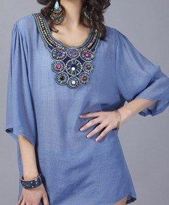 BL401-4 Bluza de vara cu maneci treisfert si broderie - Bluze - Haine > Haine Femei > Bluze > Bluze