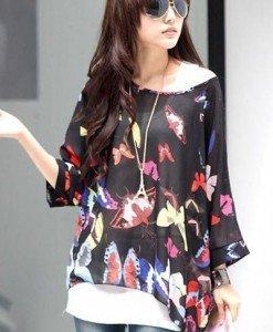 BL402-1 Bluza vaporoasa de vara cu model - Bluze - Haine > Haine Femei > Bluze > Bluze