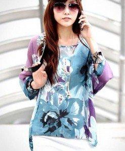 BL403 Bluza vaporoasa de vara cu model floral - Bluze - Haine > Haine Femei > Bluze > Bluze
