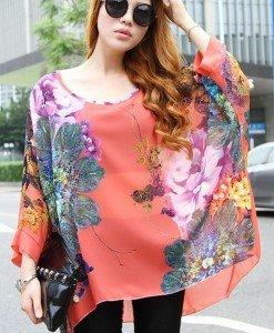 BL405 Bluza vaporoasa de vara cu print floral - Bluze - Haine > Haine Femei > Bluze > Bluze