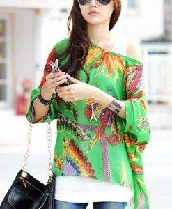 BL406-12 Bluza vaporoasa de vara cu print colorat - Bluze - Haine > Haine Femei > Bluze > Bluze