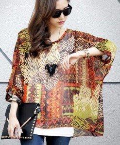 BL407 Bluza vaporoasa de vara cu imprimeu colorat si maneci largi - Bluze - Haine > Haine Femei > Bluze > Bluze