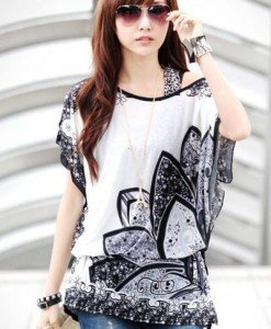 BL410-211 Bluza de vara vaporoasa cu model - Bluze - Haine > Haine Femei > Bluze > Bluze