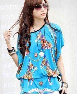 BL411-4 Bluza de vara cu model - Bluze - Haine > Haine Femei > Bluze > Bluze