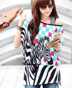 BL412 Bluza de vara cu model zebra - Bluze - Haine > Haine Femei > Bluze > Bluze