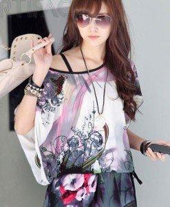 BL416 Bluza vaporoasa cu maneci scurte si model - Bluze - Haine > Haine Femei > Bluze > Bluze
